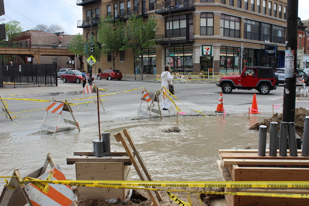 A city worker estimated the water main break happened about 3:30 p.m.