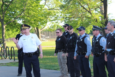 Cmdr. Roger Bay Friday held a public roll call at Portage Park in 2014.