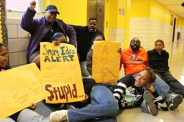 Walter Gresham Elementary School parents staged a sit-in at the school on May 16, 2014.