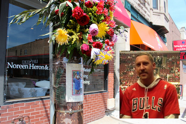 Jacob Klepacz, 32, died April 28. Flowers mark the site at 1530 W. Fullerton Ave. where he was found unresponsive and severely beaten.