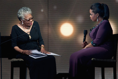 Maya Angelou talks with Oprah Winfrey.
