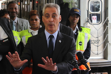 "Mayor Rahm Emanuel is telling his driver to ""slow down."""
