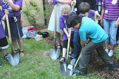 Students at McPherson helped break ground on the school's new outdoor campus.