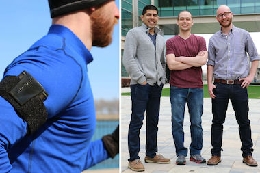 On the left, a MyPower device on the go, strapped to a runner's arm. At right: MyPower founders Tejas Shastry (l.), Michael Geier and Alex Smith.