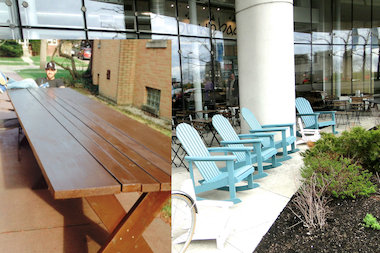 The outdoor patio at Brown Bag Seafood Co. will soon include a communal picnic table, perfect for a group outing.