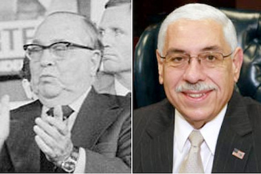 Patronage hiring flourished under Mayor Richard J. Daley (l.). Michael Shakman says it's all but gone from the city of Chicago, but the Cook County Assesor, Joseph Berrios (r.), continues to use patronage hiring.