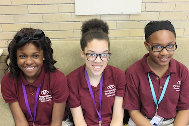 Armaria Broyles (l.), Courtney Jones and Wylencia Boyd are seventh-graders at Perspectives Charter Middle School in Auburn Gresham.