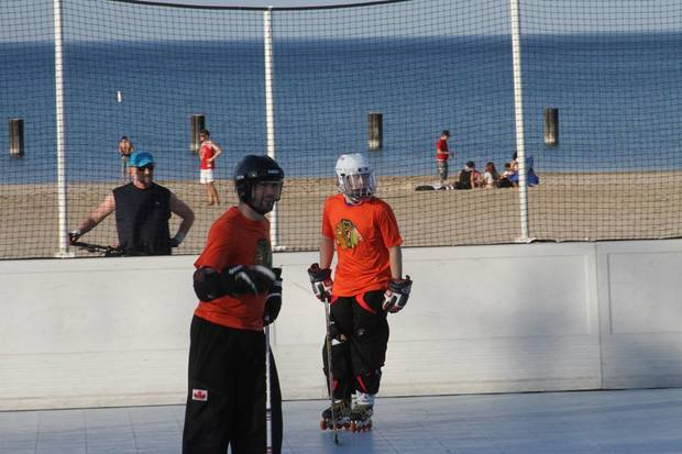 Players at the North Avenue Beach hockey league in 2015