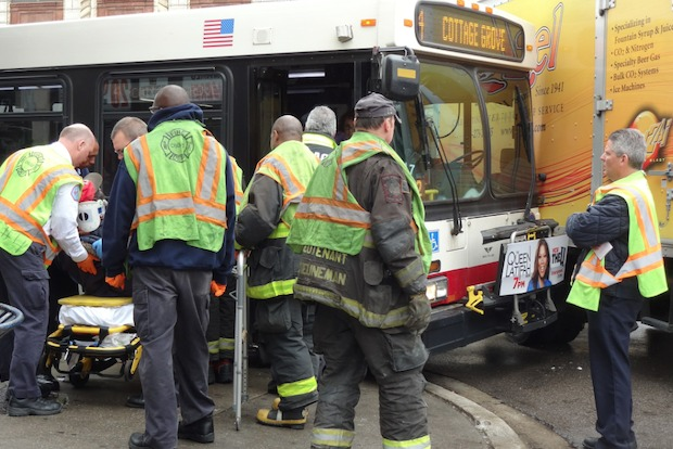 Ten people were sent to hospitals after a CTA bus crashed with a medium-sized truck in Greater Grand Crossing Friday afternoon, fire officials said.