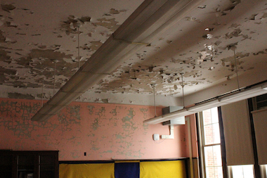 Peeling paint in a Gale Math and Science Academy classroom