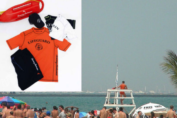 A lifeguard on duty at a Chicago beach. Inset: The Tommy Bahama gear being issued to more than 400 Chicago Park District lifeguards this summer.