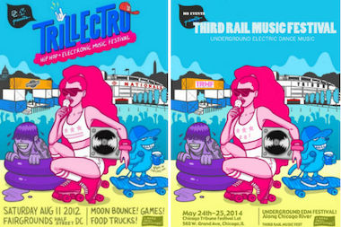 Trillelectro Music Festival's 2012 poster (l.) and a nearly identical poster used to promote the Third Rail Music Festival last weekend in River North (r.).