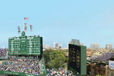 The revamped Wrigley Field would include additional signage, as pictured above.