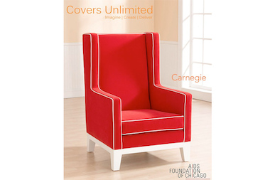 "Covers Unlimited's first ""Chair-ity"" chair, designed to benefit The AIDS Foundation of Chicago using its signature red and white color scheme."