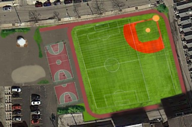 A rendering of the proposed turf field for Alcott Elementary School.