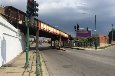 The underpass under the Metra tracks at Elston and Forest Glen avenues is a gateway into the community.