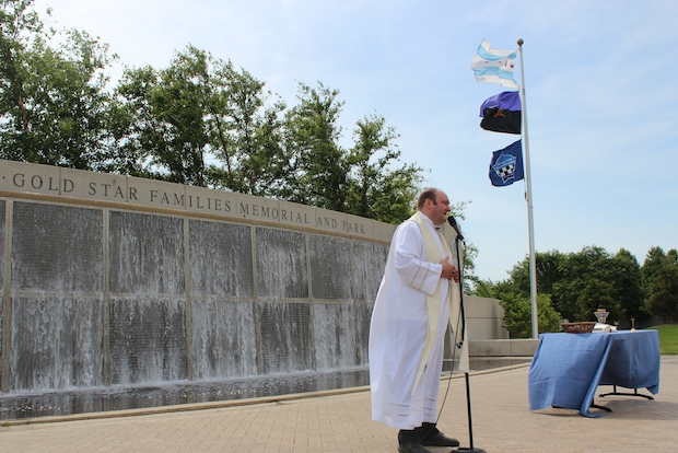 The mass was given by the Police Chaplains Ministry Sunday at the Gold Star Memorial and Park.