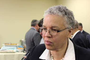 Toni Preckwinkle, president of the Cook County Board, has had the glass front door of her building shattered nine times since July 29, a realty company said.