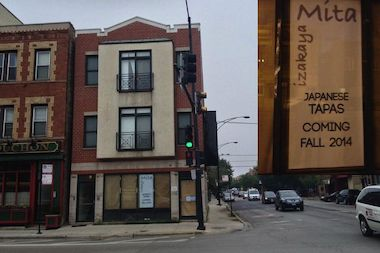 Izakaya Mita, a Japanese tapas restaurant, plans to open at the northwest corner of Damen and Armitage avenues this fall, according to a sign in the window at 1960 N. Damen Ave.