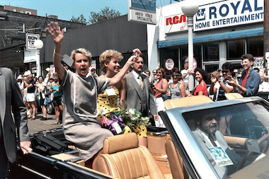 Former Mayor Jane Byrne takes part in the Pride Parade in 1985.