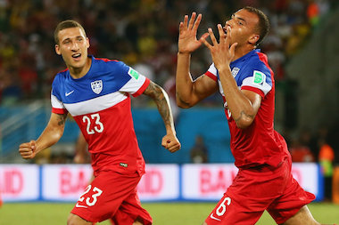 John Brooks of the United States (r.) celebrates scoring his team's second goal with Fabian Johnson during the 2014 FIFA World Cup Brazil Group G match between Ghana and the United States at Estadio das Dunas on June 16, 2014 in Natal, Brazil.