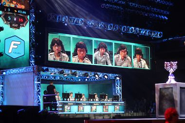 A League of Legends team competing in the World Championship Finals.