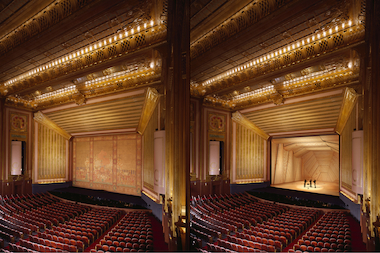 Jeanne Gang and the Studio Gang Architects will create a concert shell for the Lyric Opera. The shell (rendering on right) will be installed Nov. 1.