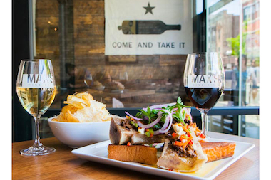 MAX's Wine Dive starts serving up comfort food alongside wine this week. Pictured here is the restaurant's Marrow & Beef Jam with Truffle Chips.