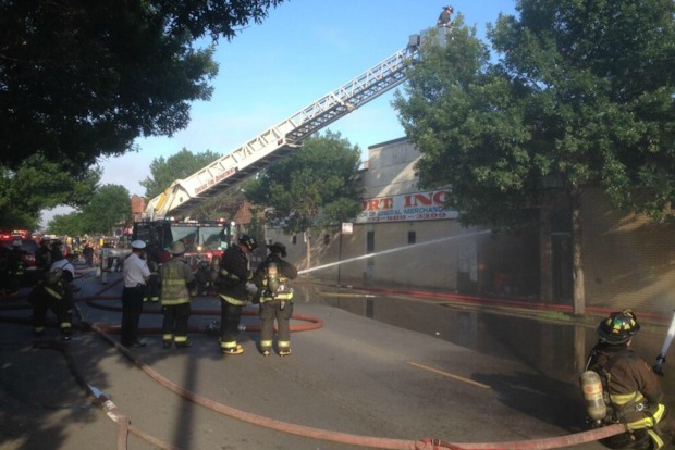 Firefighters were battling the blaze in the 3300 block of West Montrose Avenue Thursday evening.