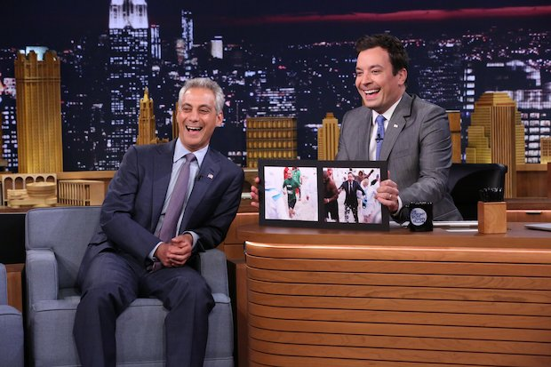 "Mayor Rahm Emanuel appeared on ""The Tonight Show Starring Jimmy Fallon"" Tuesday as a part of a deal with its host who agreed to take part in the Polar Plunge in March."