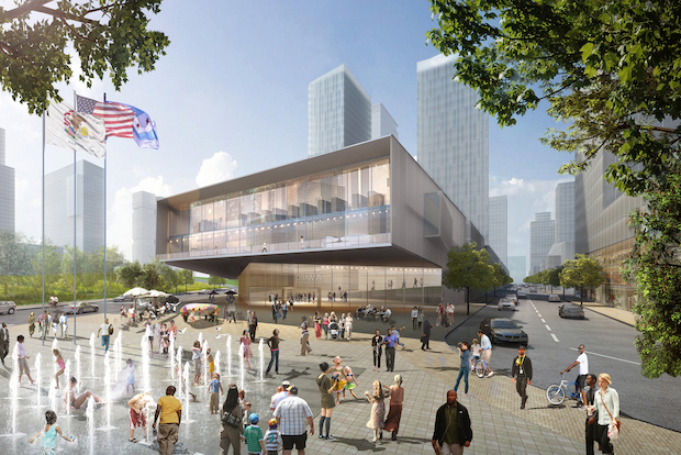 Architecture firm HOK released its bid for the Obama Library at the former Michael Reese Hospital site on Wednesday.