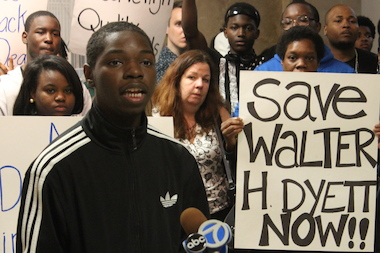 "Dyett High School valedictorian Parrish Brown accused CPS of ""destabilization"" in not providing basic resources."