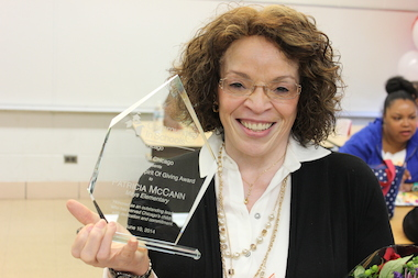 Patricia McCann, principal of Benjamin Mays Academy in Englewood, was chosen June 10, 2014, as the recipient of the Al Ward Spirit and Giving Award by the nonprofit Communities In Schools of Chicago.
