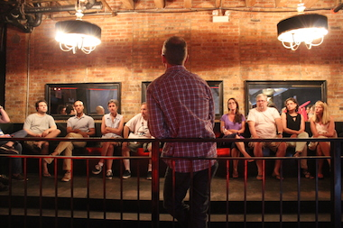 "Jeff Keirns, co-executive producer for ""The Real World,"" speaks to West Loop residents Monday at 1100 W. Randolph St. The building is the former site of nightclub Bon V, which production company Bunim/Murray hopes to convert into a home for the show."