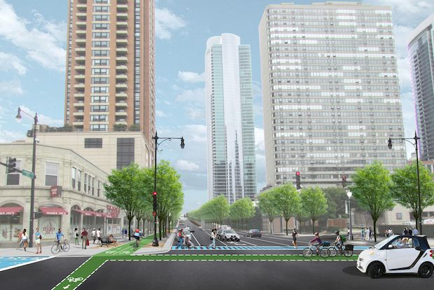 Plans call for a tree-lined bike and pedestrian path that will connect the Roosevelt Road CTA station to Grant Park.