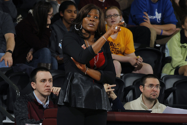 Sheryl Swoopes, former WNBA star and current Loyola University head women's basketball coach, will face off against 5-foot-5 comedian Ben Larrison in a dunking competition Wednesday.