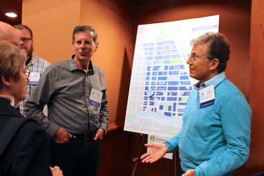Community members discuss their ideas for the Streeterville Neighborhood Plan at a meeting to present an early draft.