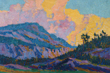 "A 1917 painting by Birger Sandzen, ""Sunset in the Mountains."""