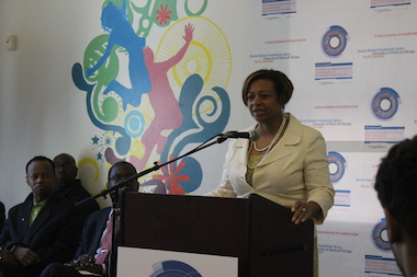 State Sen. Patricia Van Pelt talks Monday about UIC's bid for the Obama Presidential Library.