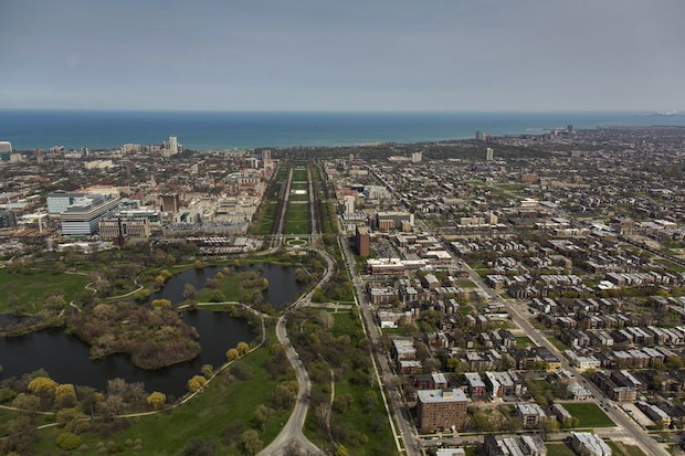 Washington Park (front left) is connected to Jackson Park (seen in distance) by the University of Chicago's Midway Plaisance.