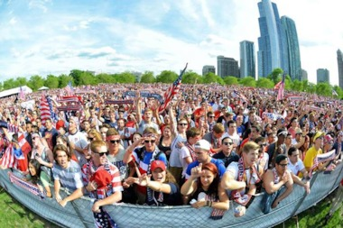 More than 7,000 soccer fans came out to Grant Park Monday to watch the U.S. Men's team beat Ghana 2-1. Sunday's viewing party has been moved to Lower Hutchinson Field to accommodate larger crowds.