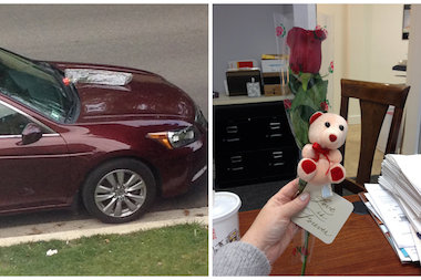 After finding roses on her car for six weeks, a Jefferson Park woman says getting flowers from a stranger is better than knowing who's giving them.