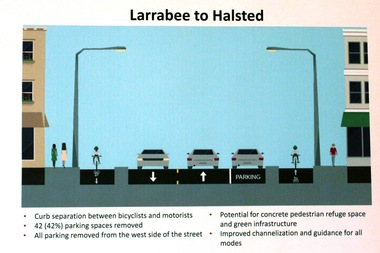 A rendering of the barrier-protected bike lane that is being considered for Clybourn Avenue.