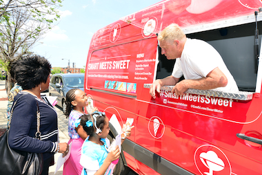 A ComEd ice cream truck will travel through several Chicago neighborhoods during July 2014 where smart meters are being installed.