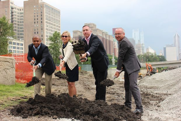Ald. William Burns (4th), Mayor Rahm Emanuel's wife Amy Rule, Park District Superintendent Mike Kelly and Grant Park Conservancy President Bob O'Neill shoveled a ceremonial load of soil at the southern tip of Grant Park Monday to kick off construction on a  three-acre skate park .