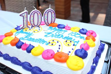 Building management provided snacks and a cake for residents to celebrate James Braxton's 100th birthday.