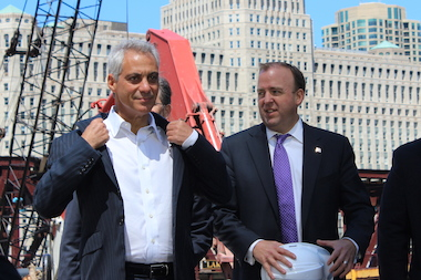 Mayor Rahm Emanuel and Ald. Brendan Reilly prepare for Thursday's groundbreaking at 150 N. Riverside Place.