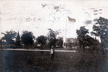 This photo was taken circa 1900 near what is now Logan Square park, but pre-dates the Centennial monument in the park.