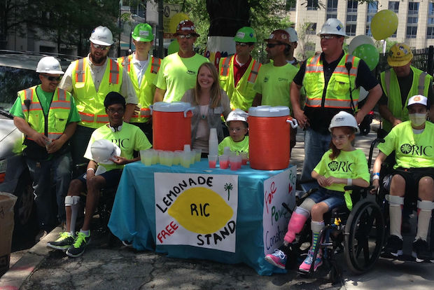 Two RIC pediatric patients will hand out lemonade to construction workers Tuesday.