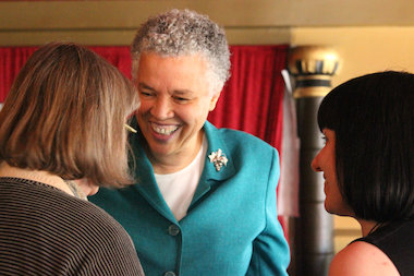 Cook County Board President Toni Preckwinkle was the guest speaker at a luncheon hosted by the Albany Park and Lincoln Square Ravenswood chambers of commerce.